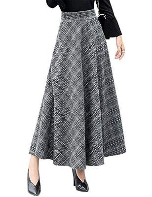 IDEALSANXUN Women's Plaid Wool Long Skirt Elastic Waist A-line Skirts