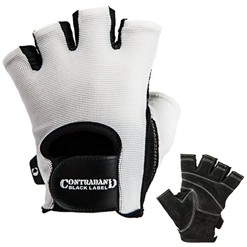 Contraband Black Label 5050 Mens Basic Leather Fingerless Weight Lifting Gloves - Durable Light - Medium Padded Split Leather Gym Gloves - Perfect Classic Lifting Gloves (Pair) (White, Large) -