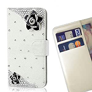 Romantic Flower Crystal Diamond Waller Leather Case Cover 3D Bling For Samsung Galaxy G360 G3608 G3606 /- THE- /