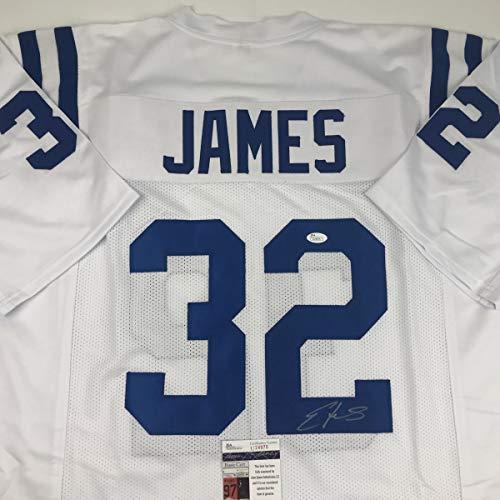 Autographed/Signed Edgerrin James Indianapolis White Football Jersey JSA COA