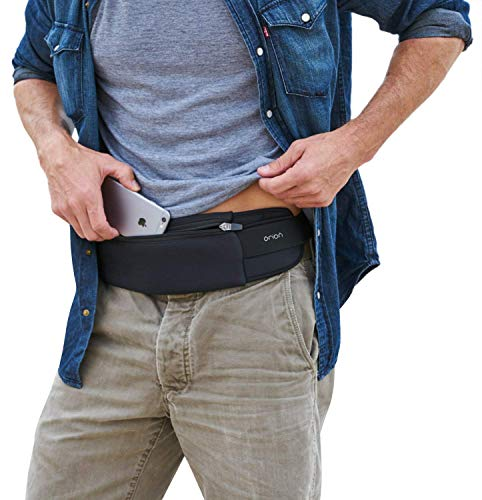 Mind and Body Experts Orion Travel Belt - Hands-Free Way to Carry Your Phone, Money, Passport - Waist Pack for Hiking, Traveling, Running, Walking - Adjustable Water Resistant Fanny Pack (Black)