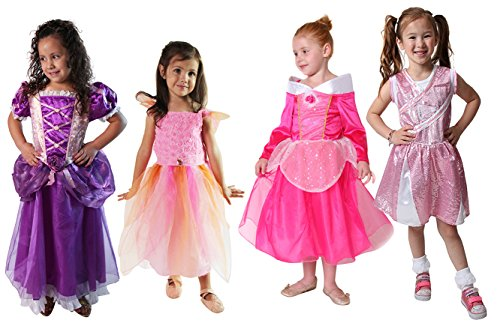 Classic Storybook Princess Dress 4 Pack Set (4-6 Years, Hot Pink/Purple/Pink)