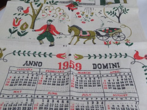 VINTAGE 1959 Folk Art Linen Calendar -- as shown