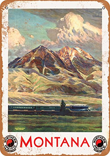 Wall-Color 7 x 10 Metal Sign - Montana Northern Pacific Railroad - Vintage Look