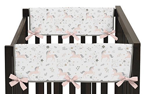 Pink Toile Curtains - Pink, Grey and Gold Side Crib Rail Guards Baby Teething Cover Protector Wrap for Unicorn Collection by Sweet Jojo Designs - Set of 2