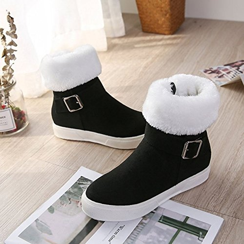 Buckle leather PU Black Comfort Nubuck Casual ZHZNVX Almond for Boots Women's Almond Round Fall Flat Toe Shoes Winter HSXZ wxCOq4p