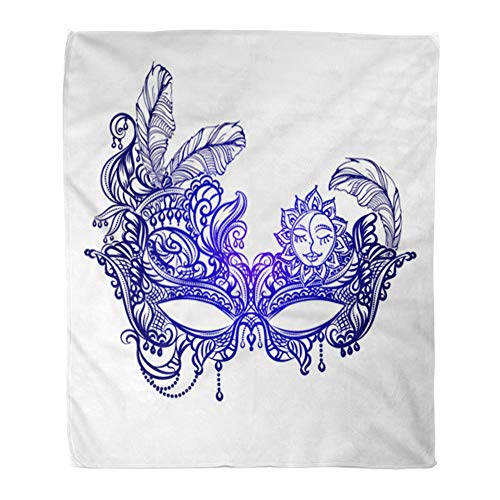Emvency Throw Blanket Warm Cozy Print Flannel Face Masks in The of Boho Chic Festival Mardi Gras Masquerade Comfortable Soft for Bed Sofa and Couch 60x80 Inches