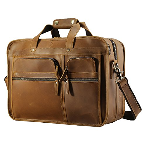 Texbo Men's Solid Full Grain Cowhide Leather Messenger Bag Large Briefcase ,Fit 17 inch Laptop