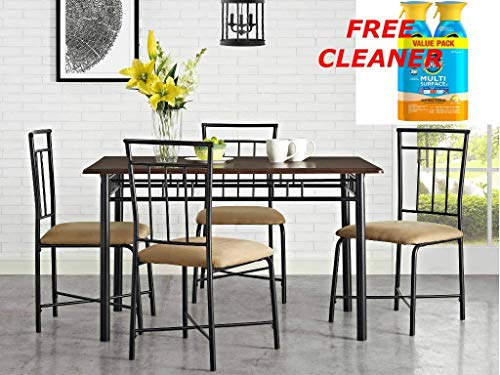 Mainstay 5-Piece Sturdy Stylish Durable Metal & Wood Constructed Table Chairs Set in Top Espresso Finish + Free Multi Surface Cleaner