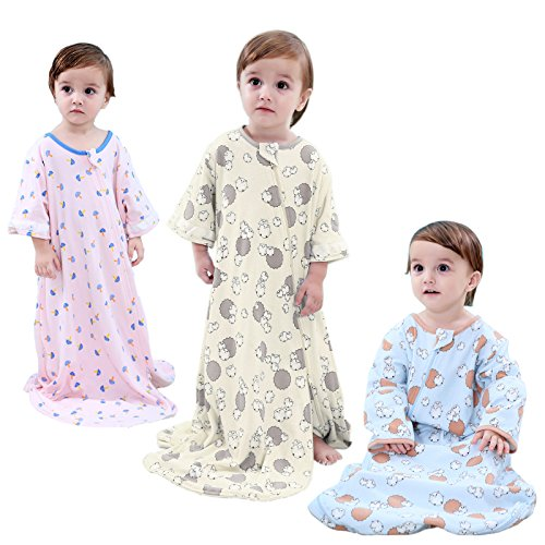 GEX Baby Sleep Sack 100% Cotton Wearable Blanket Baby Sleeping Bag Spring/Autumn Pink Animal Party 120 (3mos-6.5year)
