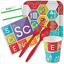 Science Party Supplies - Tableware for 16 Guests - includes Dinner Plates, Napkins, 16oz Cups, Cutlery