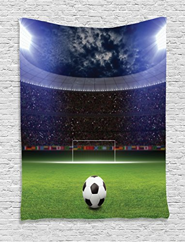 Ambesonne Sports Decor Collection, Soccer Ball on Stadium Arena in Night Illuminated Bright Spotlights Cheering Fans Image, Bedroom Living Room Dorm Wall Hanging Tapestry, Navy Green (Sports Fan Wall Hanging)