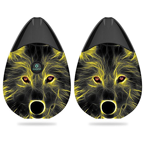MightySkins Skin for Suorin Suorin Drop - Neon Wolf | Protective, Durable, and Unique Vinyl Decal wrap Cover | Easy to Apply, Remove, and Change Styles | Made in The - Starter Pack E Cig
