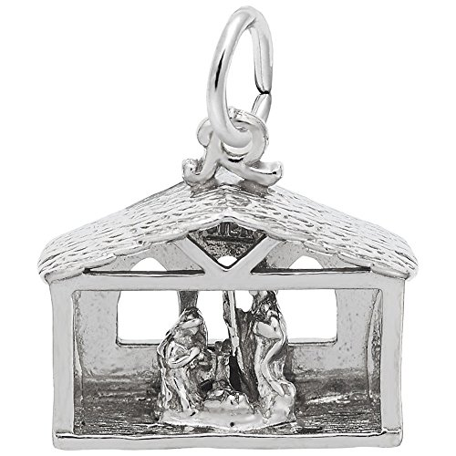 Nativity Charm In Sterling Silver, Charms for Bracelets and Necklaces