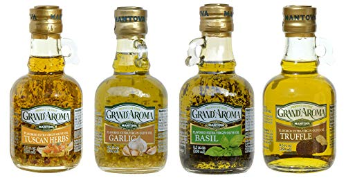 Grand'aroma Tuscan Herbs,Garlic, Basil, Truffle Flavored Extra Virgin Olive Oil, 8.5-Ounce Bottles (Pack of 4) (Olive Oil Infused)
