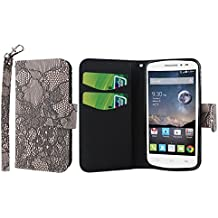 MPERO Alcatel OneTouch Pop Astro Wallet Case, [Flex Flip] Cover with Card Slots and Wrist Strap (Black Lace)