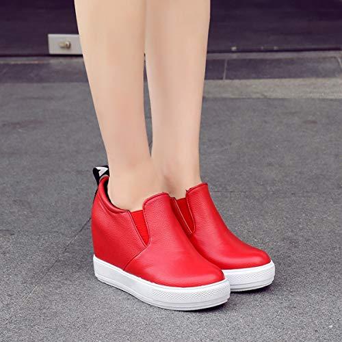 Pu O Zeppa Fatte 38eu Impermeabili Donna Scarpe Vestire Tipi Stile Gonna Tacchi Cappotto Jeans Abbinare Da Diversi red Casual Pigri Mano A Di wqHzq