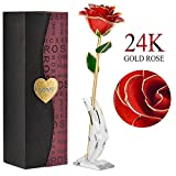24k Gold Rose Long Stem Gold Forever Roses with Display Stand in Box Best Romantic Gift for Valentines Day, Mothers Day, Anniversary, Birthday Gift, Treating Yourself, Valentine's Day