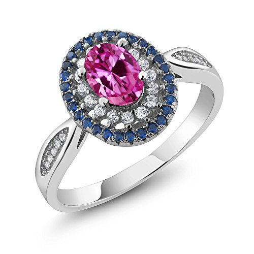 1.60 Ct Oval Pink Created Sapphire 925 Sterling Silver Women