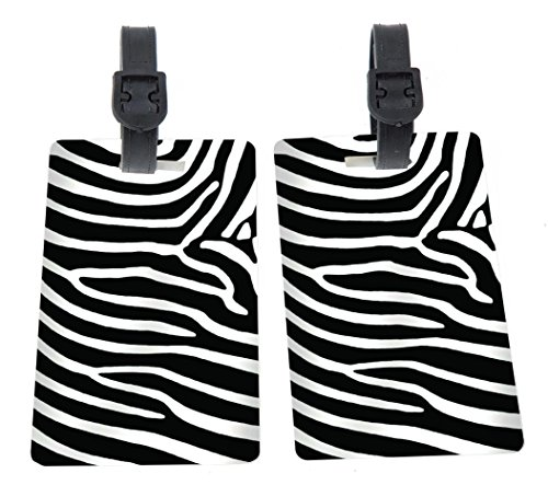 Rikki Knight Zebra Stripes Design Premium Quality Plastic Flexi Luggage Tags with...