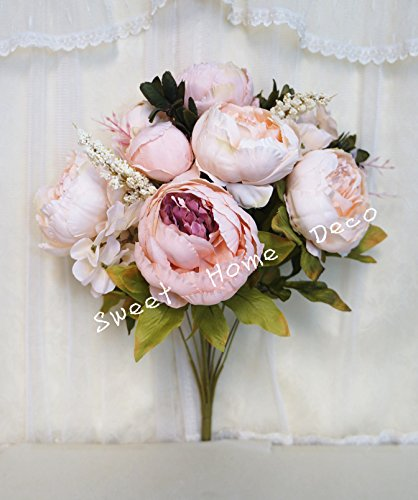 �' Super Soft Blooming Peonies and Hydrangeas Silk Artificial Bouquet (13 Stems/6 Flower Heads) (Ivory/Ligth Pink) (Soft Pink Peony)