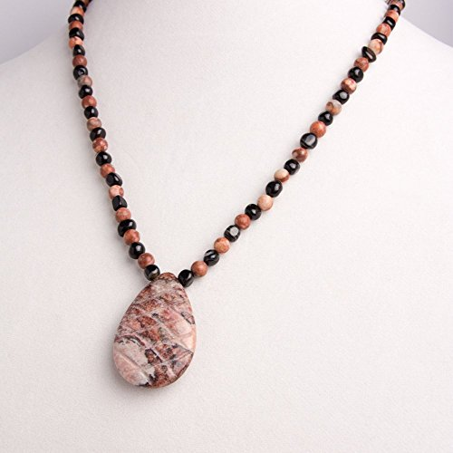 Bracelet Agate Black Carved (Carved Berry Agate Pendant with Small Berry Jasper Beads and Cubed Black Onyx Beads Necklace, Earring and Bracelet Set)