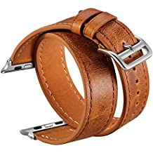 V-Moro Apple Watch Bands 38mm Women Men, iWatch Leather Band Vintage Crazy Horse Wrist Strap for Apple Watch Series 3 Series 1 Series 2, Sport, Hermes, Nike+, Edition Adults- Brown