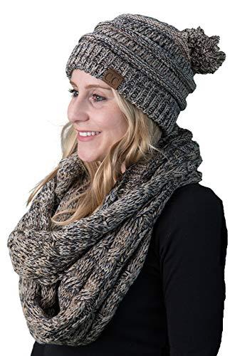 - Funky Junque aPOM-6800-816.45 POM Beanie Hat & Scarf Matching Bundle - POM HAT - Taupe #17