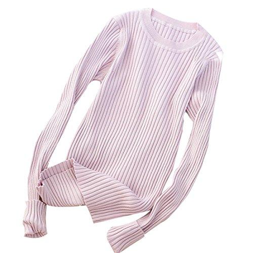 XGMSD Moda Femenina Suéteres Otoño Invierno Caliente Thread Bottoming Camisa Pink