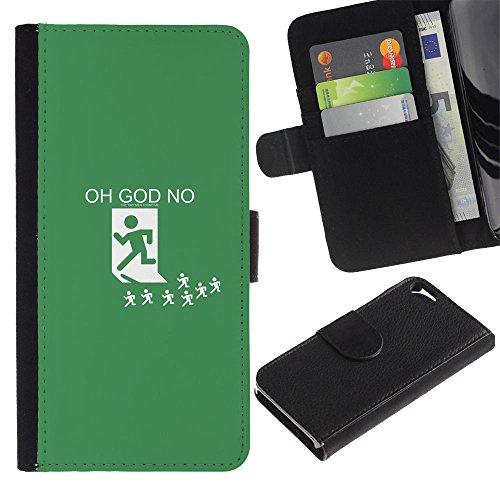 Smartphone PU cuir Wallet Cas Couvercle de protection Housse coque Fente à monnaie Card Slots Case Apple Iphone 5 / 5S // Oh mon Dieu Non // JUSTGO PHONE PROTECTOR