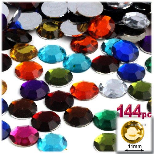 The Crafts Outlet 144-Piece Round Rhinestones, 11mm, Jewel Tone Assortment ()