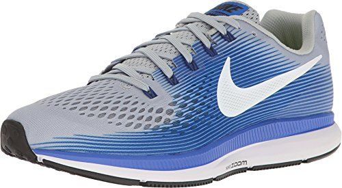 Nike Men's Air Zoom Pegasus 34 Running Shoes (10.5, Grey/Blue-EW),Wolf Grey/White/Racer Blue