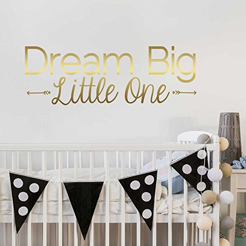 Dream Big Little One Decal - Kiss Cut Dream Big Wall Quote Decal By Chromantics (gold) (Chevron Gold Wallpaper)