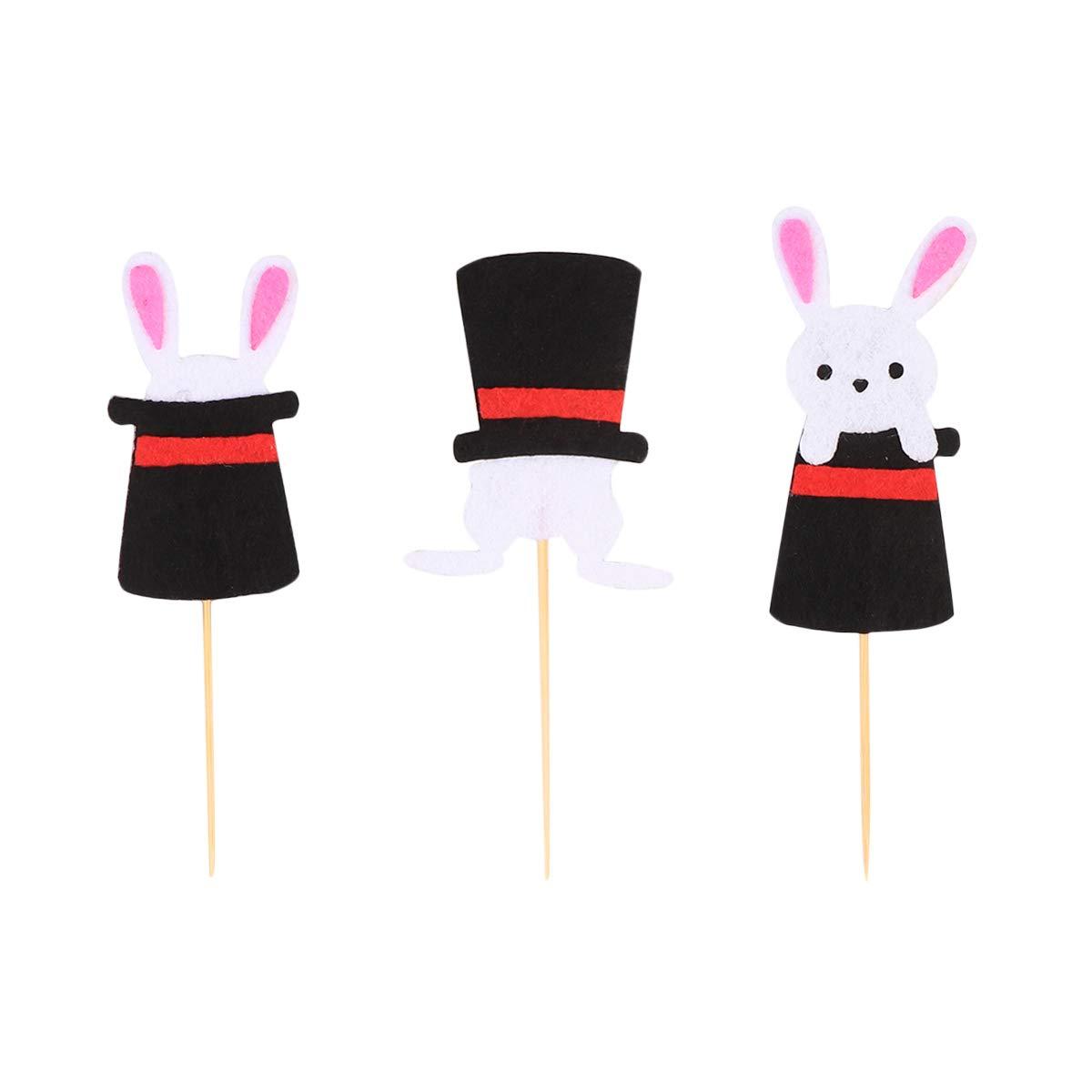 Amosfun 24 Unids/Set Easter Bunny Rabbit Magic Hat Cake Toppers Cupcake Decorating Supplies Fiesta de Cumpleaños de Pascua Favores