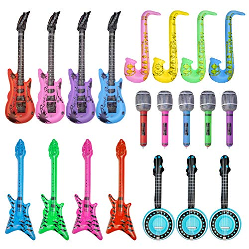 (20 Pieces Inflatable Toy Set Inflatable Electric Guitar Saxophone Microphone Pipa Toy for 80's 90's Themed Party ,kids Birthday Decor,Coachella Valley Music Festival,Karaoke Party,Rock and Roll Party)