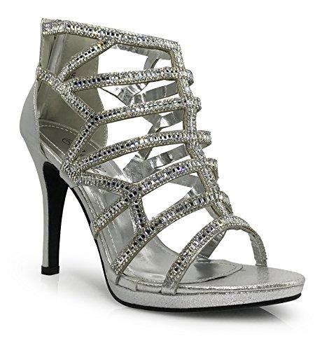 lingerie02 Womens Open Toe High Heel Wedding Rhinestone Rear Zipper Open Toe Sandal Wedge Shoes (7, Silver) Rear Heel