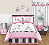 Pink, Black and White Stripe Paris Childrens and Teen 3 Piece Full / Queen French Eiffel Tower Girls Bedding Set Collection
