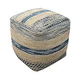Lola Boho Hemp and Wool Pouf, Natural and Blue