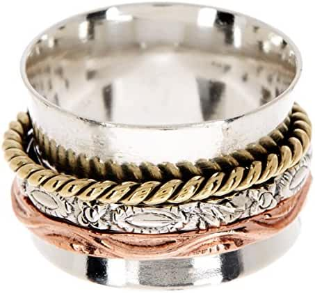 Sterling Silver Handmade Bali Style Wholesale Fashion Jewelry Spinner Ring