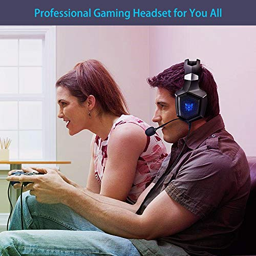 ONIKUMA Gaming Headset Stereo PS4 Headset with Flexible 360 Mic Surround Sound Over-Ear Xbox one Headset with Noise Cancelling Gaming Headphone LED Lights Volume Mute Control for Phones Laptop PC