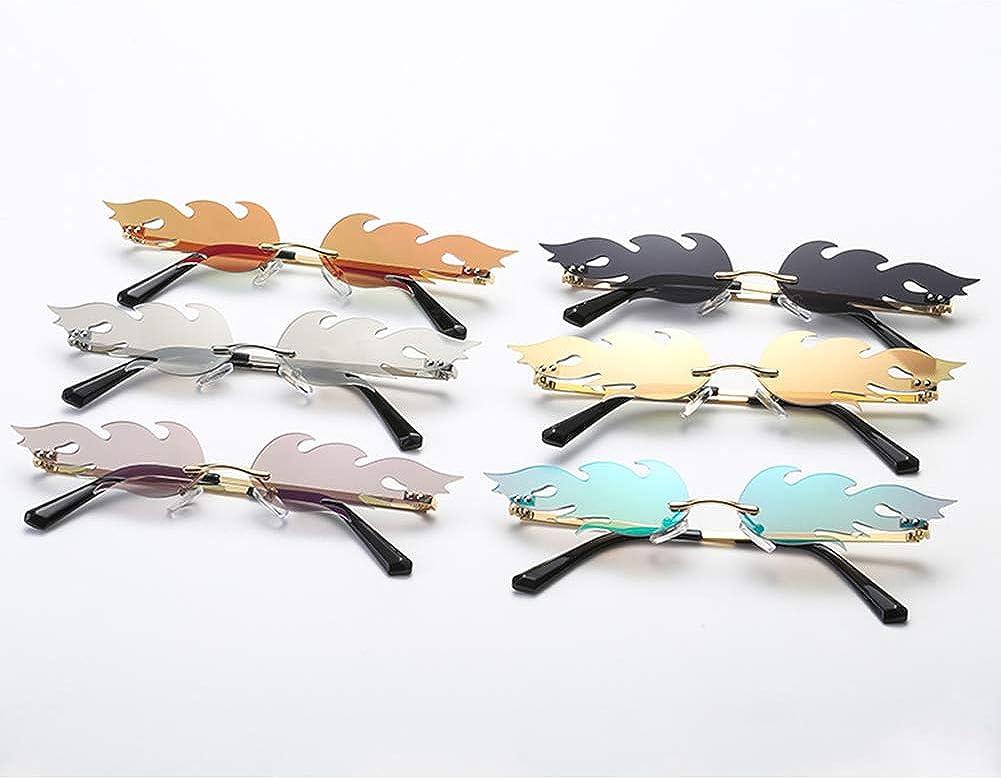 Aisoway Feuer Flamme Sonnenbrille Frauen M/änner Randlos Welle Sonnenbrillen Brillen Narrow Sun Glasses