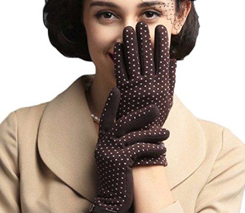 Youchan(ヨウチャン) 手袋 グローブ ニット ドット 水玉 ウール スマホ対応 暖かい グッズ 防寒 ギフト 5本指 彼女 レディース (ダークブラウン)