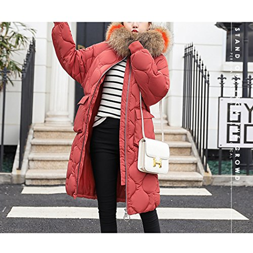 Duvet Hiver Coton Taille avec Fourrure Doudoune Rouille de Capuche en Coton Longue Manteau Chaud Femme de HANMAX Rouge Grande pqY67RwR