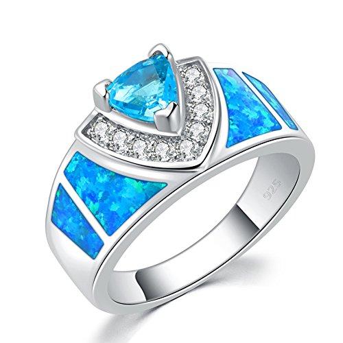 CiNily Blue Fire Opal Aquamarine Silver Filled Zircon Women Jewelry Gemstone Ring Size 5-12 ()