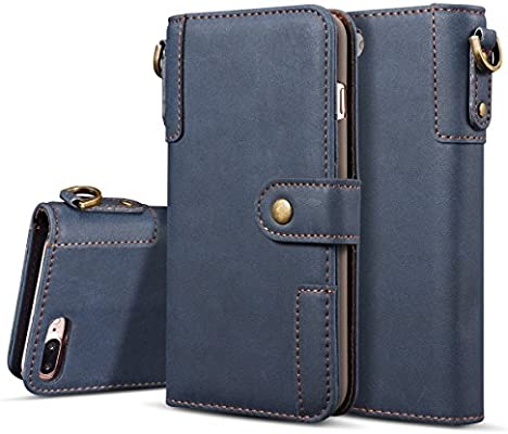 0b48a346c8f3b3 Amazon.com: iPhone 7plus Case SITCO Wallet Genuine Real Leather Case Back  Cover Flip Wallet Phone Case Credit Card Slots for Apple iphone 8plus: Cell  Phones ...
