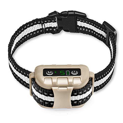 Bark Collar No Bark Collar Rechargeable Anti bark Collar with Adjustable Sensitivity and Intensity Beep Vibration and No…