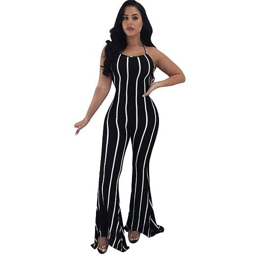 Image Unavailable. Image not available for. Color  Sunyastor Women s Stripe  Print Bandage Bodysuit Party Jumpsuit Casual Style ... e0156a630