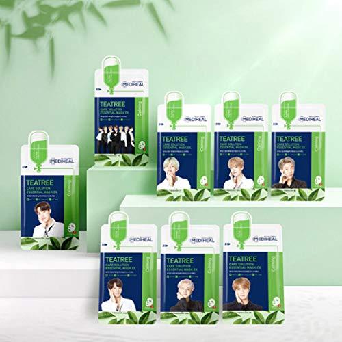 MEDIHEAL [BTS Version] Tea Tree Care Solution Essential Mask EX 24ml 8 Pack - Group Shot 1EA + Individual Shot 7EA + Pocket Card/Skin Soothing & Sebum Control Mask Pack for Sensitive Oily Skin
