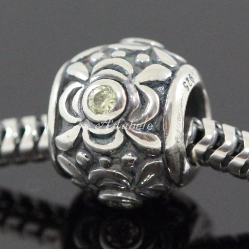 Flower Design .925 Sterling Silver Charm With Birthstone Crystal August Peridot Fits Pandora, Biagi, Troll, Chamilla and Many Other European Charm #EC460