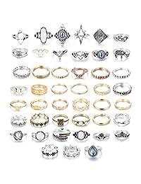 b391534ac Subiceto 45 Pcs Bohemian Stacking Rings Set Vintage Midi Finger Joint  Kuncle Rings for Women Girls